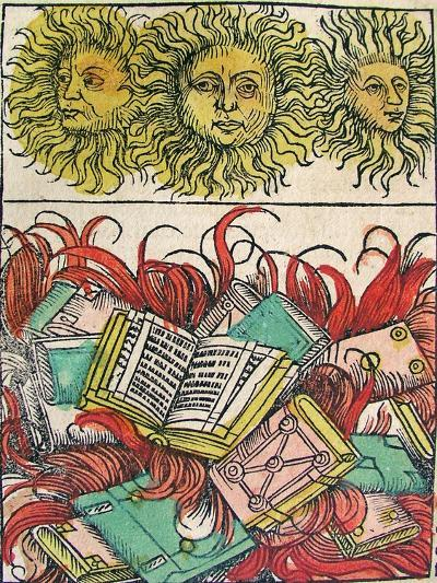 """""""Three Suns and Book Burning"""", Published in the Nuremberg Chronicle, 1493--Giclee Print"""