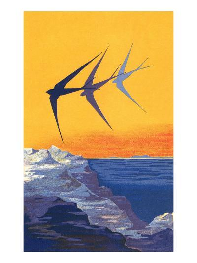 Three Swallows over the Sea--Art Print