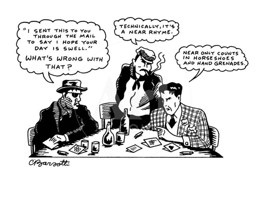 Three thugs around a table discussing greeting cards new yorker three thugs around a table discussing greeting cards new yorker cartoon premium giclee print by charles barsotti art m4hsunfo