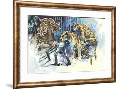 Three Tigers in the Circus-Wayland Moore-Framed Serigraph