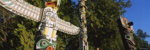 Three Totem Poles, Stanley Park, Vancouver, British Columbia, Canada