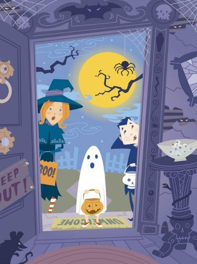 Three Trick-Or-Treaters at Scary House--Photo