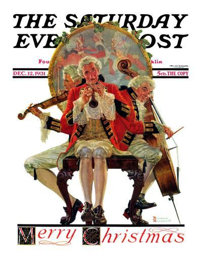 """""""Three Victorian Musicians"""" Saturday Evening Post Cover, December 12,1931-Norman Rockwell-Giclee Print"""