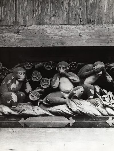 Three Wise Monkeys Sculpture at Toshugu Shrine--Photographic Print