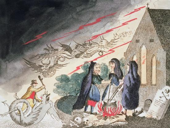 Three witches in a graveyard, c1790s-Unknown-Giclee Print