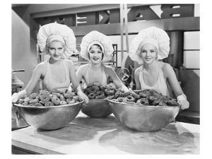 Three Women Bowls of Donuts