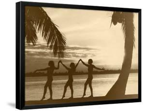 Three Women Dance Between Two Palms on a Beach at Sunset, 1930S