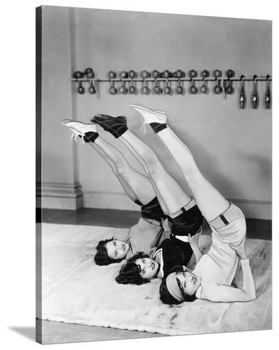 Three Women Exercising--Stretched Canvas Print