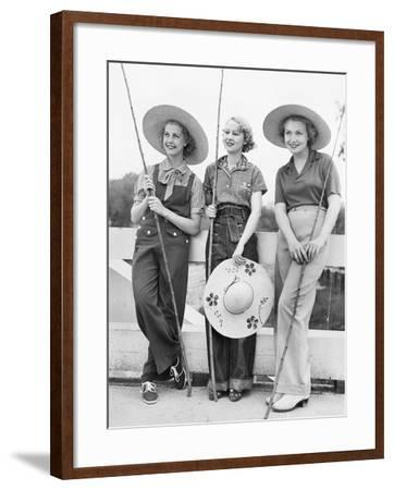 Three Women Going Fishing with Huge Hats--Framed Photo