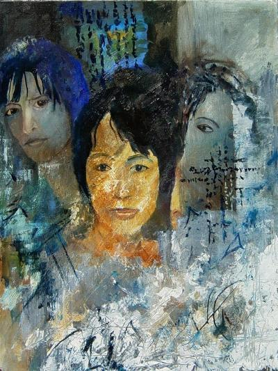 Three women's faces-Pol Ledent-Art Print