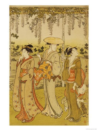 Three Women Viewing Wisteria at Kamedo-Torii Kiyonaga-Giclee Print