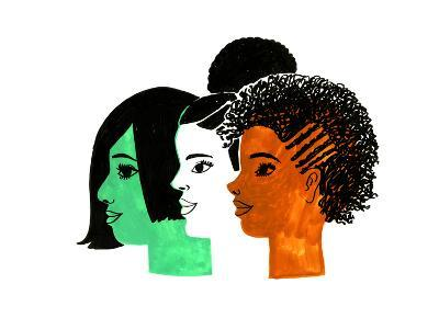 Three Women with a Profile View--Art Print