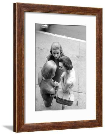 Three Women with Page Boy Hair Styles, New York, 1955-Nina Leen-Framed Photographic Print