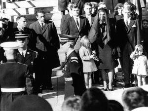 Three Year Old John F Kennedy Jr Salutes His Father's Flag Draped Coffin after Funeral Mass