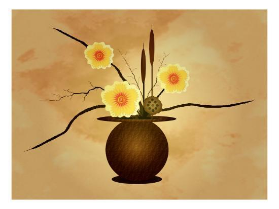 Three Yellow and Red Flowers in Vase with Cattail and Lotus Flower-Rich LaPenna-Giclee Print