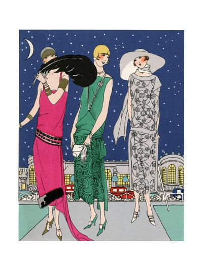 Three Young Ladies in Evening Outfits by Worth--Giclee Print