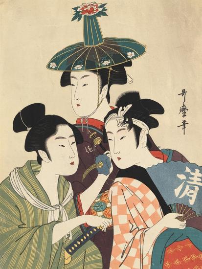 Three Young Men or Women-Kitagawa Utamaro-Giclee Print