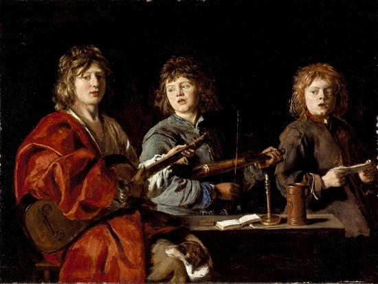 Three Young Musicians, c.1630-Antoine Le Nain-Giclee Print