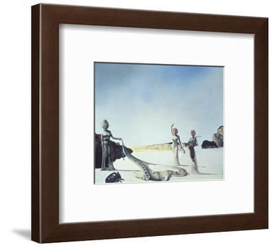 Three Young Surrealist Women Holding in their Arms the Skins of an Orchestra, 1936-Salvador Dal?-Framed Art Print