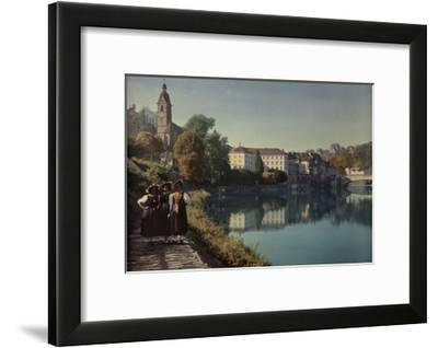 Three Young Women Pose on a Sidewalk Next to the Rhine River-Hans Hildenbrand-Framed Photographic Print