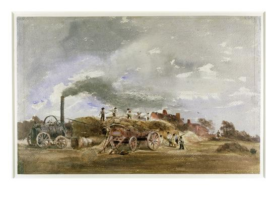 Threshing Corn (Pencil and W/C on Paper)-Peter De Wint-Giclee Print