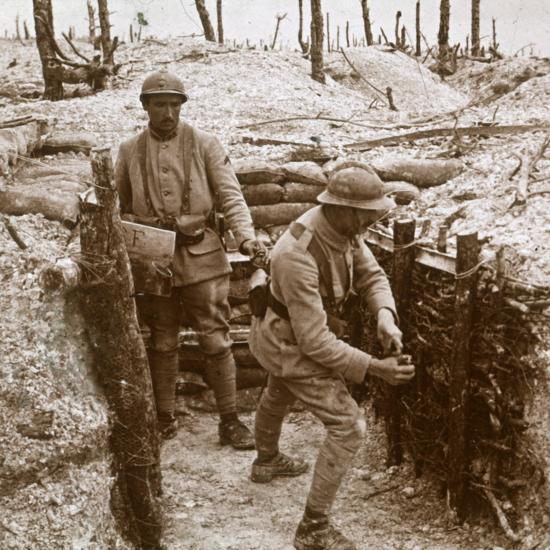 Throwing grenades, front line, c1914-c1918-Unknown-Photographic Print