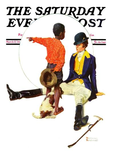 """""""Thrown from a Horse"""" Saturday Evening Post Cover, March 17,1934-Norman Rockwell-Giclee Print"""