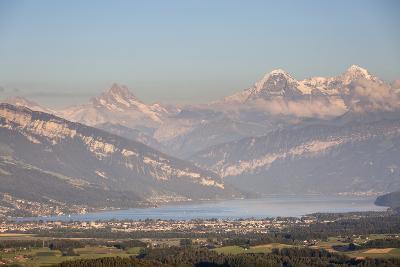Thun, Canton Bern, Switzerland: Lake Thun & City Of Thun, Mönch And Eiger Mts (Right 2 Peaks) Bkgd-Axel Brunst-Photographic Print