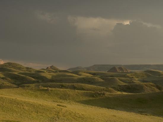 Thunderclouds Gather Above Little Missouri National Grasslands-Phil Schermeister-Photographic Print