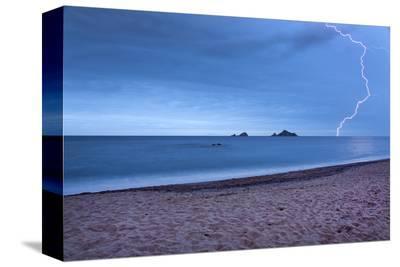 Thunderstorm at Tancau Beach, Santa Maria Navarrese, District of Baunei, Sardinia, Italy--Stretched Canvas Print