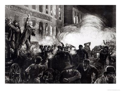 "The Anarchist Riot in Chicago: a Dynamite Bomb Exploding Among the Police, from ""Harper's Weekly"""