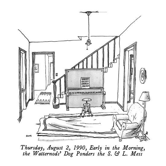 Thursday, August 2, 1990, Early in the Morning, the Watternods' Dog Ponder? - New Yorker Cartoon-George Booth-Premium Giclee Print