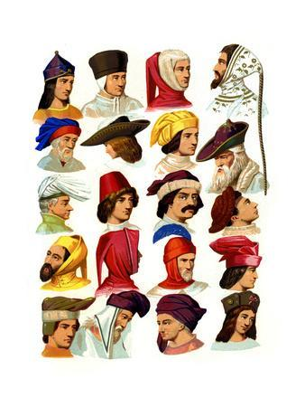 Men's Hats of Different Classes of Society, 13th-16th Century