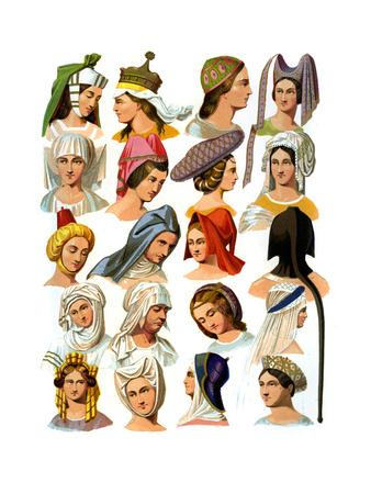 Women's Hats of Different Classes of Society, 13th-16th Century