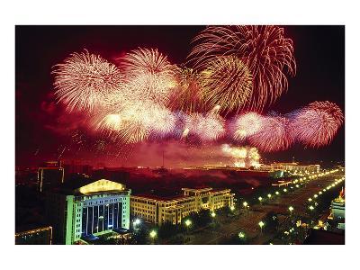 Tianemen Sq. Beijing Fireworks--Art Print