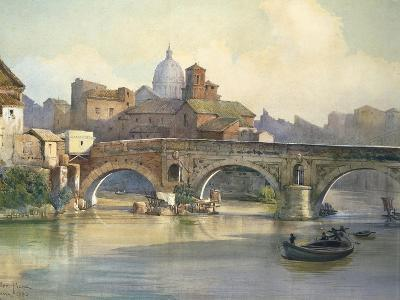 Tiber Island and Emilio Bridge in Rome from the Series Roma Sparita--Giclee Print