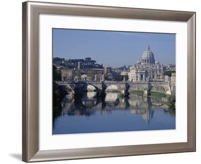 Tiber River and St. Peter's Basilica-John & Lisa Merrill-Framed Photographic Print
