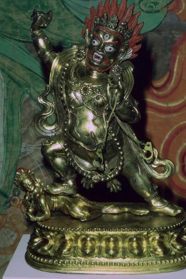 Tibetan gilt-bronze statuette of Vajrapani. Artist: Unknown-Unknown-Giclee Print
