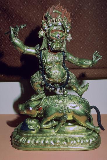 Tibetan gilt-bronze statuette of Yamer. Artist: Unknown-Unknown-Giclee Print