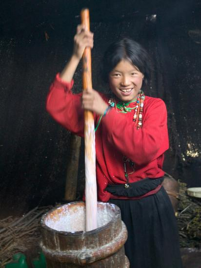 Tibetan Girl Making Butter Tea Inside the Yurt, Dingqing, Tibet, China-Keren Su-Photographic Print