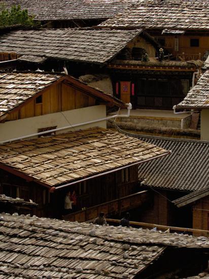 Tibetan House Rooves, Zhongdian, Deqin Tibetan Autonomous Prefecture, Yunnan Province, China-Pete Oxford-Photographic Print