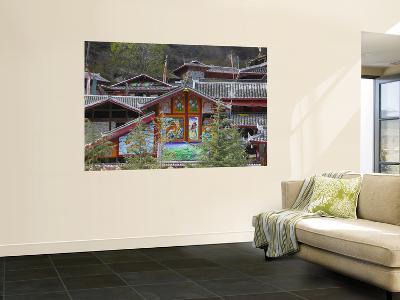Tibetan Houses Decorated with Murals, Nine Village Valley-Keren Su-Wall Mural
