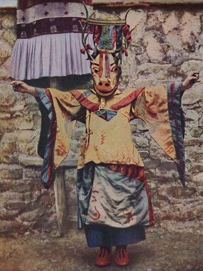 'Tibetan lama attired for the devil dance', c1935-Unknown-Giclee Print