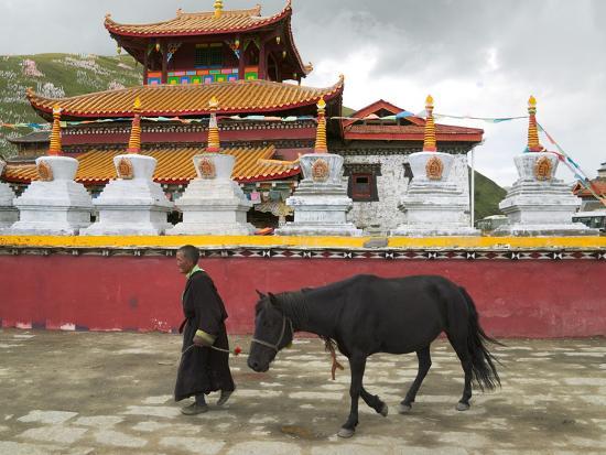 Tibetan Man with Horse in Tagong Monastery, Sichuan, China-Keren Su-Photographic Print