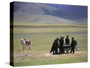 Tibetan Men Play Pool