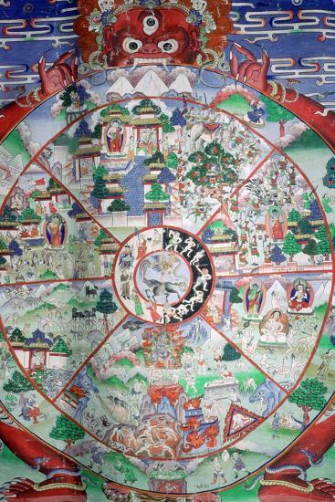 Tibetan painting of the wheel of transmigratory existence. Artist: Unknown-Unknown-Photographic Print