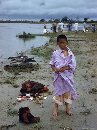Tibetan Refugees on Beach at Misamari Camp-John Dominis-Photographic Print