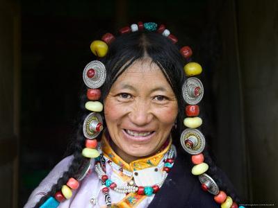 Tibetan Woman, Tibet, China-Keren Su-Photographic Print