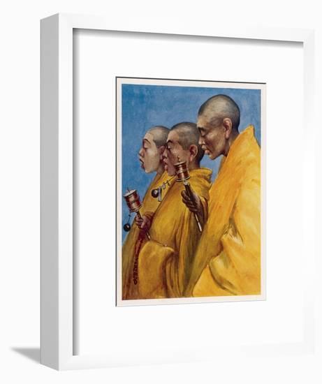 "Tibetan ""Yellow Monks"" Using Prayer Wheels-Henry Savage Landor-Framed Giclee Print"