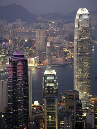 Hong Kong skyline and Victoria Harbor at night by Tibor Bogn?r